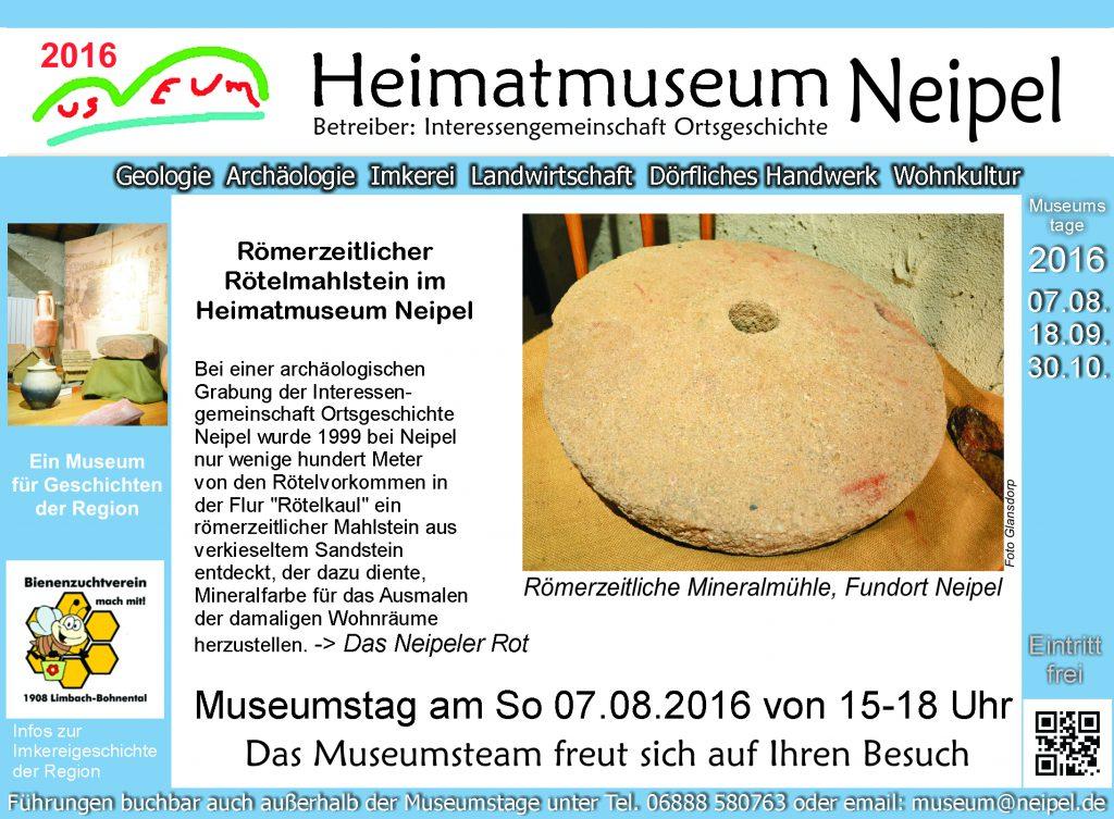 Römerzeitlicher Rötelmahlstein im Heimatmuseum Neipel